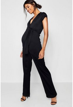 Womens Maternity Short Sleeve Tie Font Jumpsuit