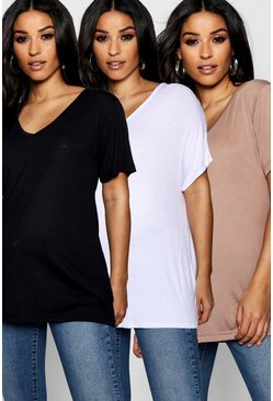 Maternity  3 Pack Ultimate V Neck T Shirt, Multi
