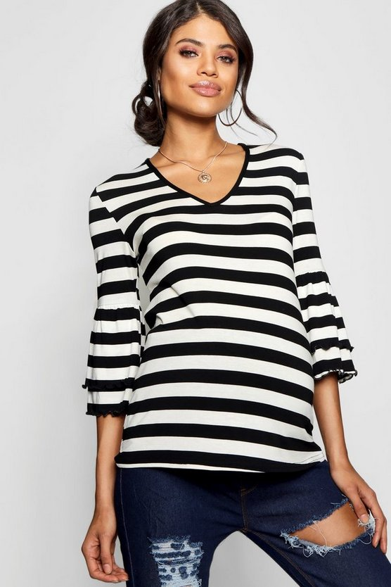 Maternity Stripe Ruffle Sleeve T Shirt