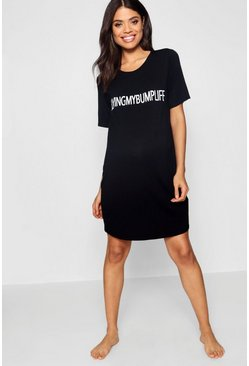 Black Maternity  Living My Bump Life Nightie