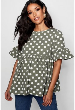 Womens Sage Maternity Polka Dot Smock Top