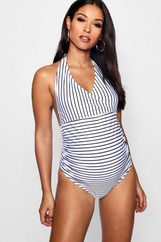 Womens Black Maternity Stripe Wrap Front Swimsuit