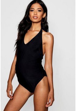 Womens Black Maternity Plunge Front Swimsuit