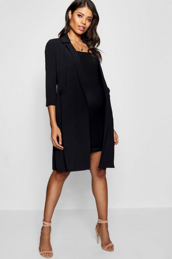 Black Maternity Pocket Duster Jacket