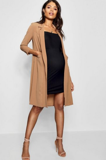 Womens Caramel Maternity Pocket Duster Jacket