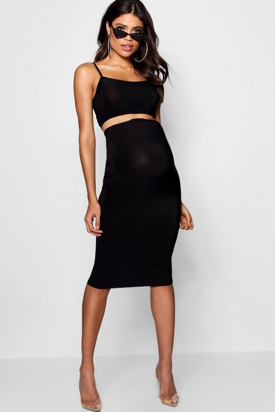 Womens Black Maternity Slinky Strappy Crop & Midi Skirt