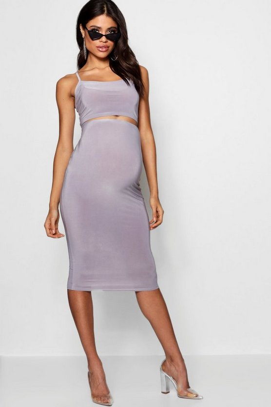 Maternity Slinky Strappy Crop & Midi Skirt
