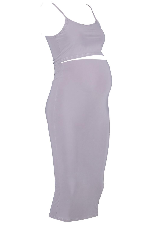 grey Maternity Midi Crop Skirt amp; Slinky Strappy qqw01pf