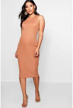 Womens Caramel Maternity High Neck Ribbed Midi Dress