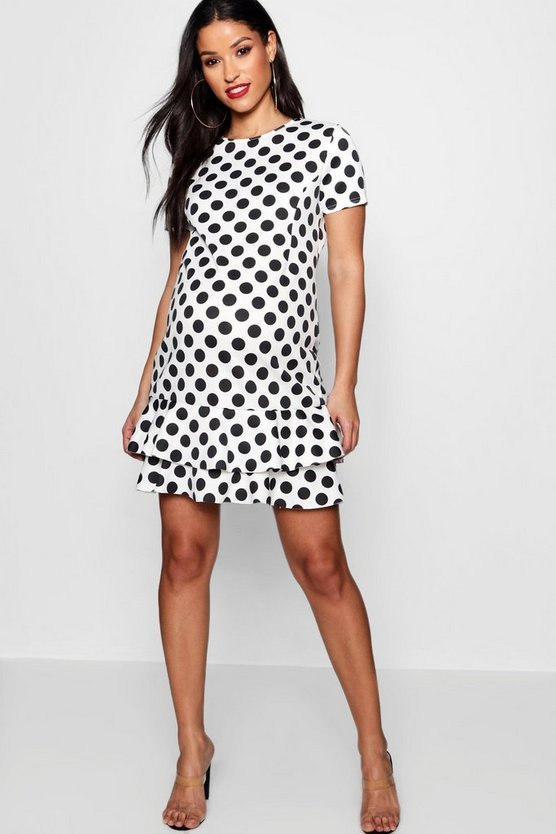 Maternity Polka Dot Ruffle Smock Dress