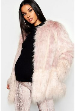 Womens Natural Maternity Mixed Faux Fur Coat