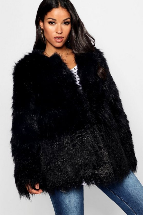 Womens Black Maternity Mixed Faux Fur Coat