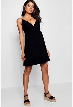 Womens Black Maternity Strappy Ruffle Smock Dress