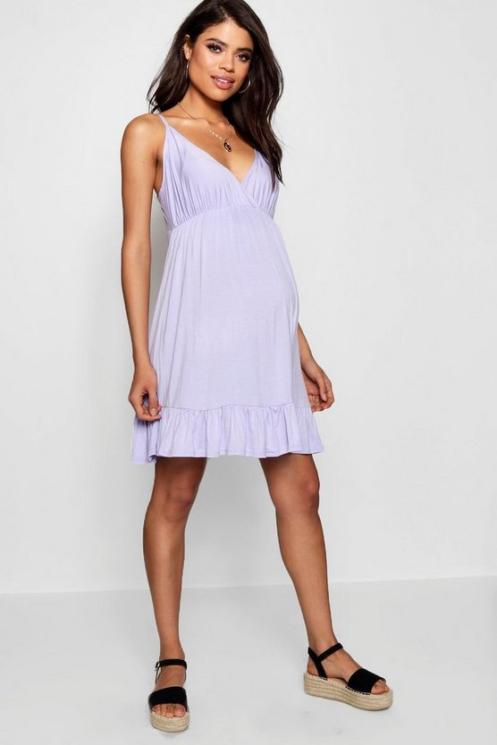 Maternity Strappy Ruffle Smock Dress