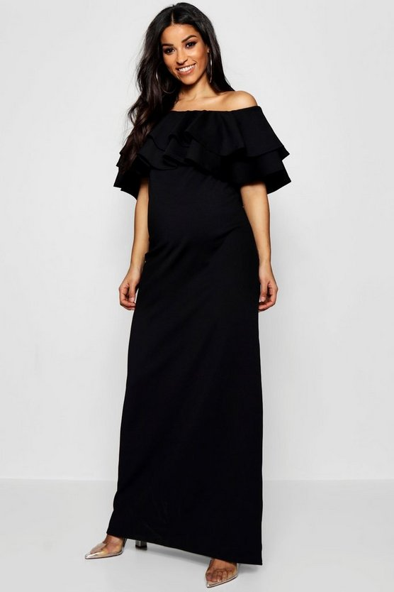 Maternity Ruffle Off The Shoulder Maxi