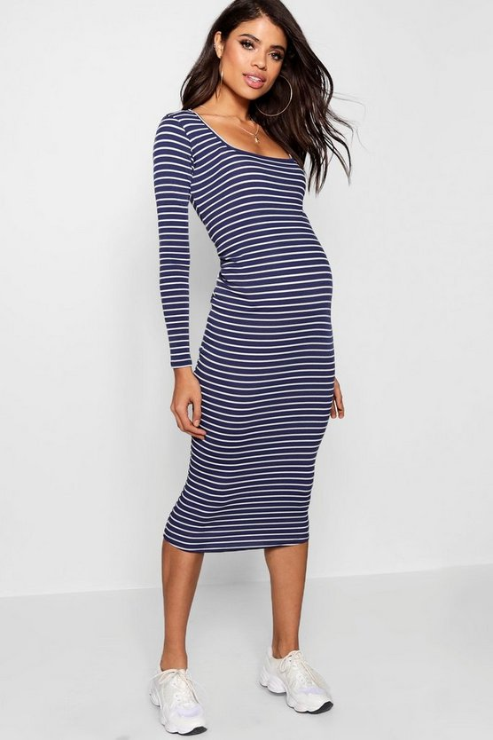 Womens Navy Maternity Square Neck Rib Stripe Midi Dress