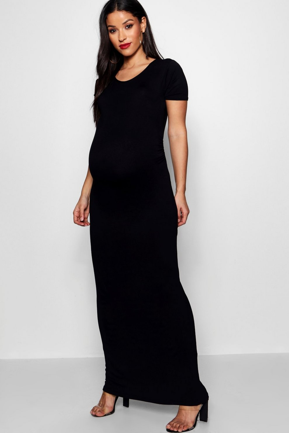 9afc89046b5 Robe Maxi de maternité moulante à manches courtes