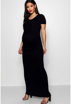 Womens Black Maternity Short Sleeve Bodycon Maxi Dress