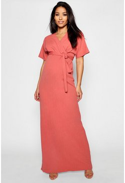 Womens Rose Maternity Crepe Wrap Maxi Dress