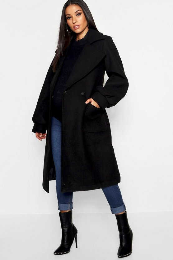 Womens Black Maternity Wrap Pocket Front Coat