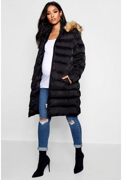 Dam Black Maternity Padded Faux Fur Trim Coat