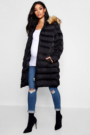 Womens Black Maternity Padded Faux Fur Trim Coat
