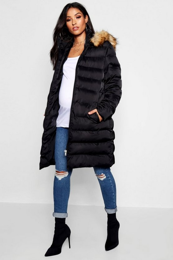 Womens Black Maternity Padded Belted Faux Fur Trim Coat