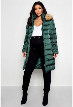 Midnight green Maternity Padded Faux Fur Trim Coat