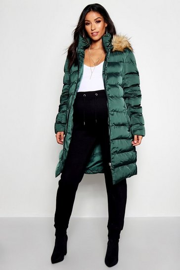 Womens Midnight green Maternity Padded Faux Fur Trim Coat