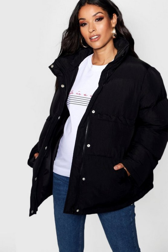 Womens Black Maternity Padded Funnel Neck Coat
