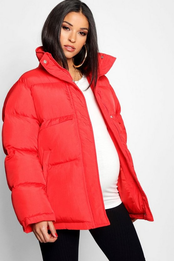 Red Maternity Padded Funnel Neck Coat