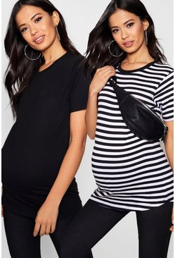 Womens Multi Maternity  2 Pack Oversized T Shirt
