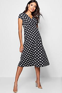 Vintage Style Maternity Clothes Maternity  Polka Dot Wrap Dress $36.00 AT vintagedancer.com