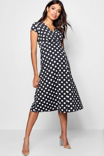 Womens Black Maternity  Polka Dot Wrap Dress