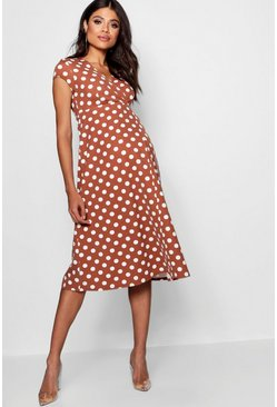 Womens Terracotta Maternity  Polka Dot Wrap Dress
