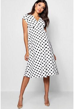White Maternity  Polka Dot Wrap Dress