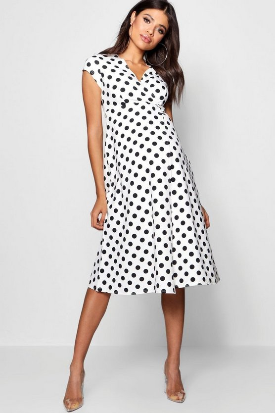 Womens White Maternity  Polka Dot Wrap Dress