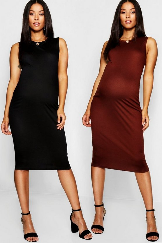 Maternity 2 Pack Over The Bump Midi Dress
