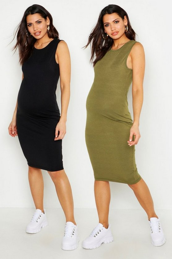 Womens Khaki Maternity 2 Pack Over The Bump Midi Dress
