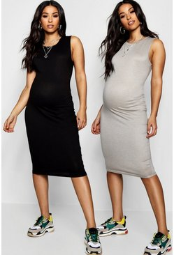 Womens Multi Maternity 2 Pack Over The Bump Midi Dress