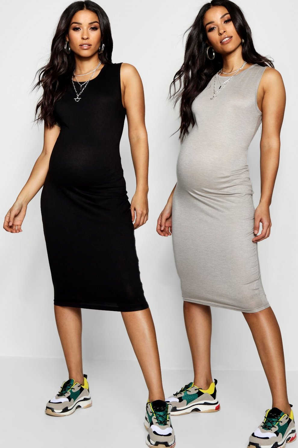 421d37abe5f3e Maternity 2 Pack Over The Bump Midi Dress | Boohoo