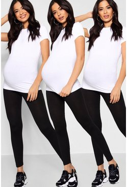 Womens Black Maternity  3 Pack Over The Bump Legging
