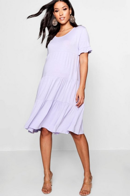 Maternity Tiered Ruffle Smock Dress
