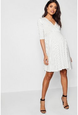 White Maternity Polka Dot Wrap Smock Dress