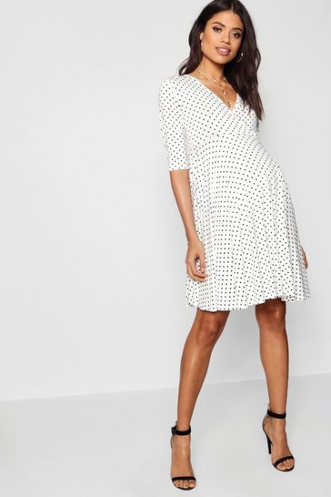 Womens White Maternity Polka Dot Wrap Smock Dress