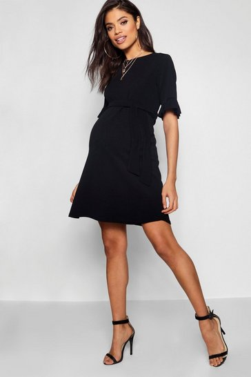 Womens Black Maternity  Ruffle Tie Waist Smock Dress