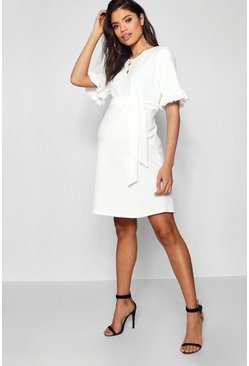 Womens Ivory Maternity  Ruffle Tie Waist Smock Dress