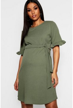 Khaki Maternity  Ruffle Tie Waist Smock Dress