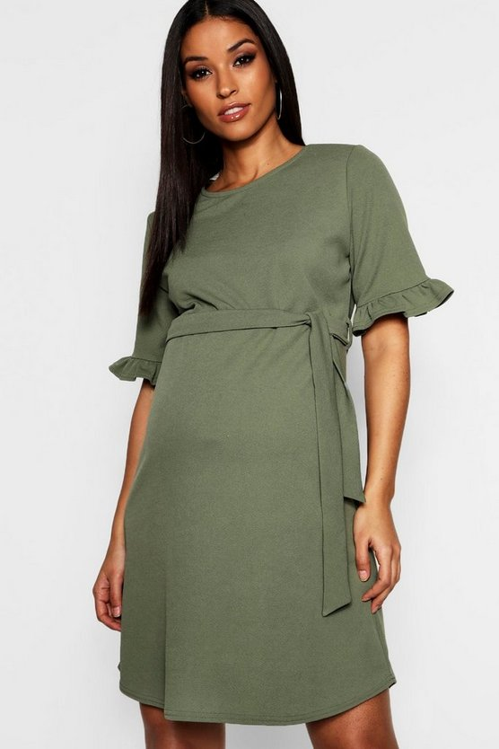 Womens Khaki Maternity  Ruffle Tie Waist Smock Dress