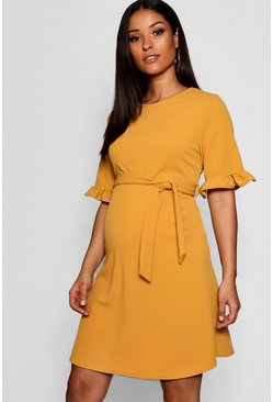 Mustard Maternity  Ruffle Tie Waist Smock Dress